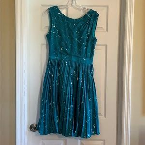 Kate Spade sleeveless turquoise silk dress V-back